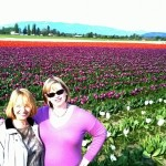 My mom and me, overexposed in the tulips