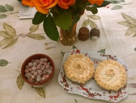 Sugared cranberries and cranberry meringue pies