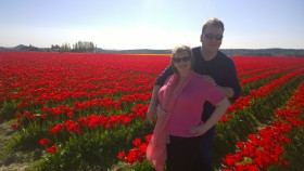 Red tulips with me and Glenn