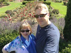 Glenn and I in the rose garden