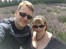 Glenn and I in the last blooming days of the lavender garden
