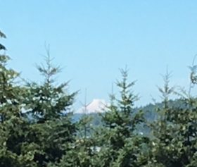 The view from our back deck of Mt Baker