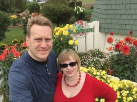 Glenn and I with dahlia blooms in La Connor
