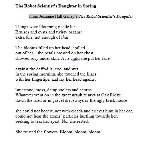 March 2017 webbish6 i thought id post a poem from my previous book the robot scientists daughter called the robot scientists daughter in spring as appropriate for today mightylinksfo